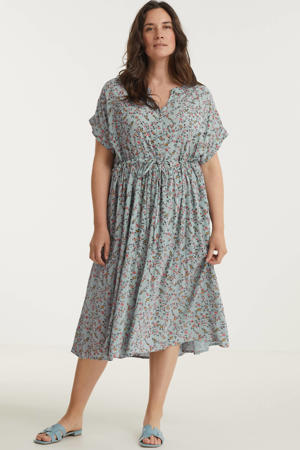 gebloemde jurk grijsblauw/roze/donkergroen