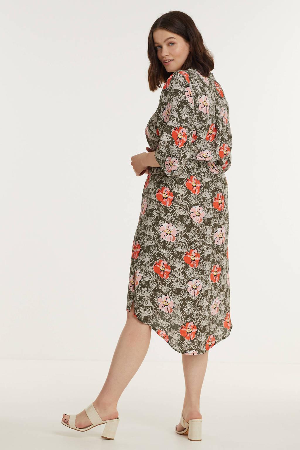 No.1 by OX gebloemde jurk olijfgroen/rood/lichtroze, Olijfgroen/rood/lichtroze