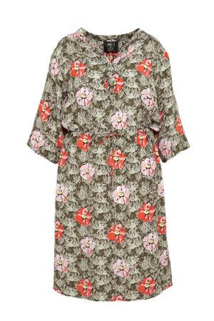 gebloemde jurk olijfgroen/rood/lichtroze