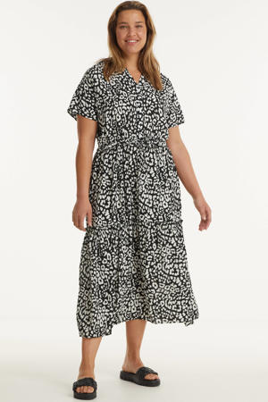 jurk met panterprint en ruches zwart/wit