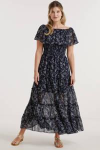 Miljuschka by Wehkamp on-off shoulder smock maxi jurk met millefleur print donkerblauw, Donkerblauw/wit