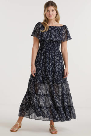 on-off shoulder smock maxi jurk met millefleur print donkerblauw