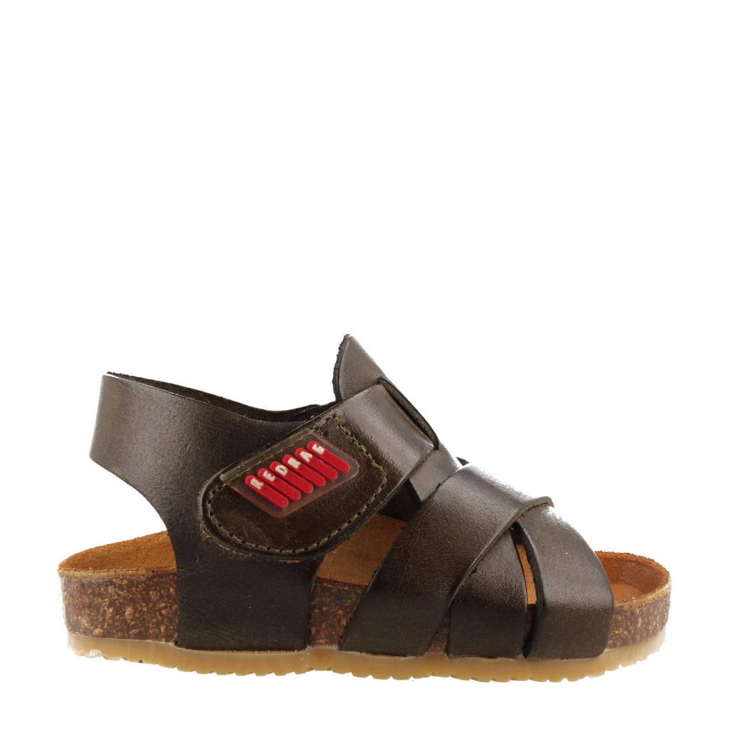 Red Rag 19167  leren sandalen donkergroen, Donkergroen/kaki