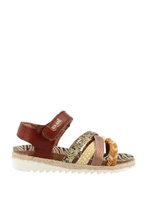 19274  leren sandalen cognac/multi