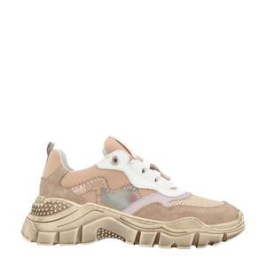 13042  leren chunky sneakers beige