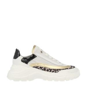 13262  leren chunky sneakers wit/goud