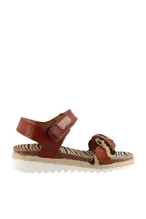 19282  leren sandalen met panterprint cognac