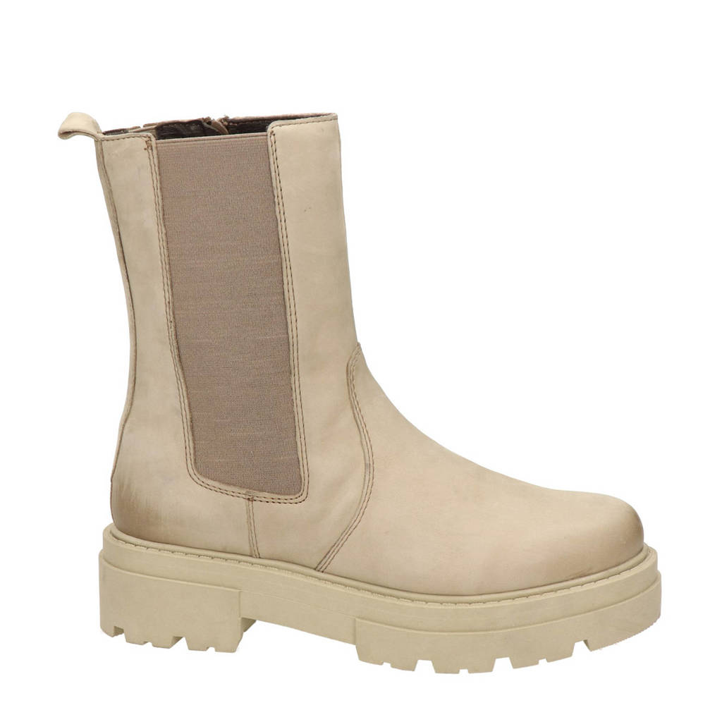 Nelson   hoge leren chelsea boots taupe, Taupe