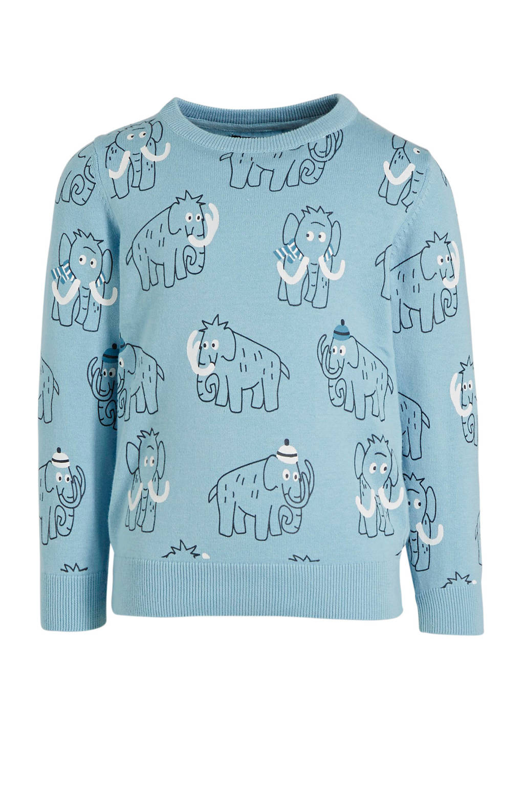 C&A Here & There sweater met all over print blauw, Blauw