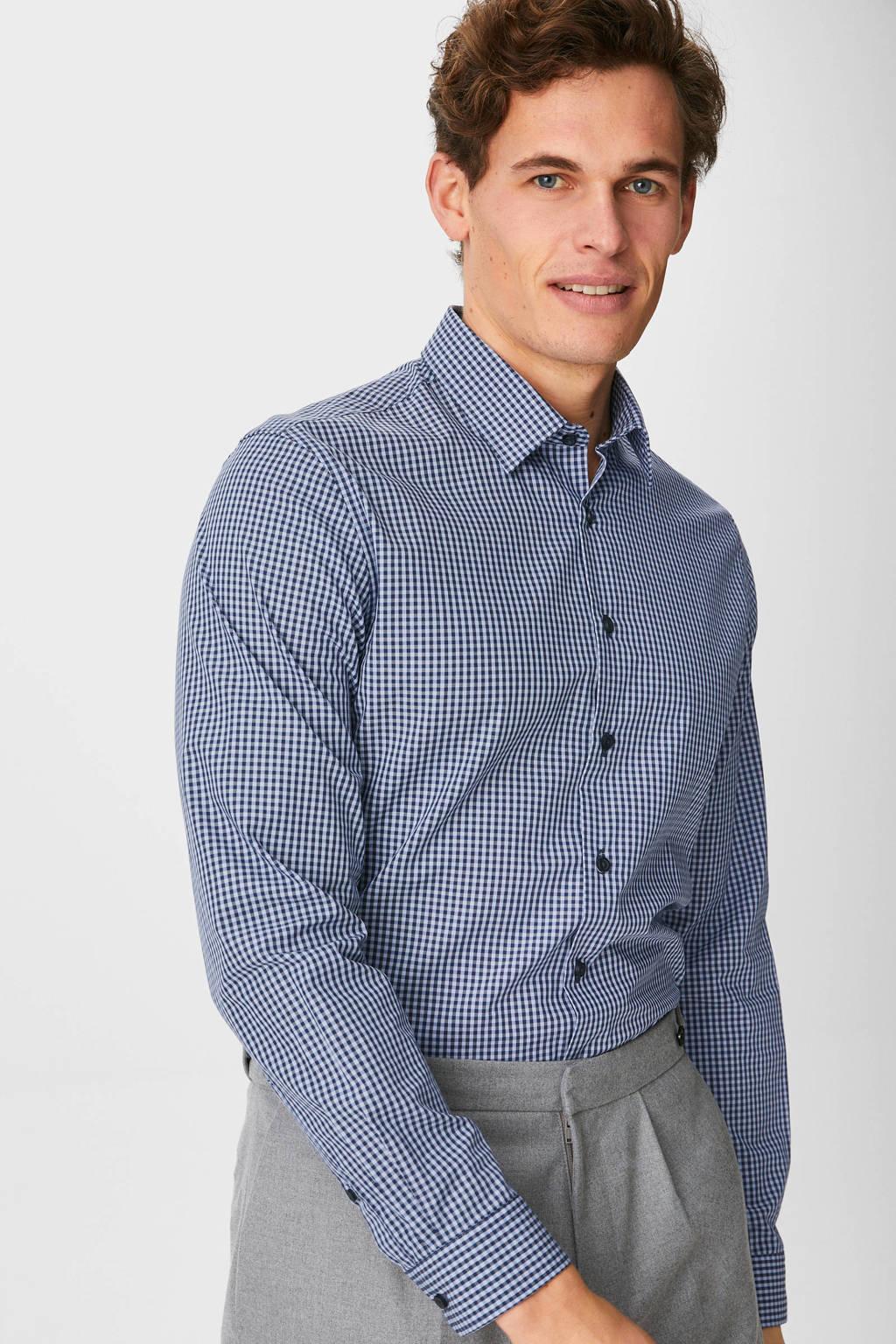 C&A Angelo Litrico geruit slim fit overhemd donkerblauw, Donkerblauw