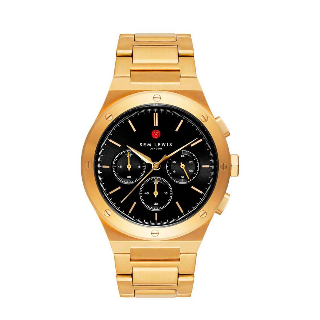 Sem Lewis chrono horloge Moorgate zwart/goudkleurig - SL1100049, Goudkleurig
