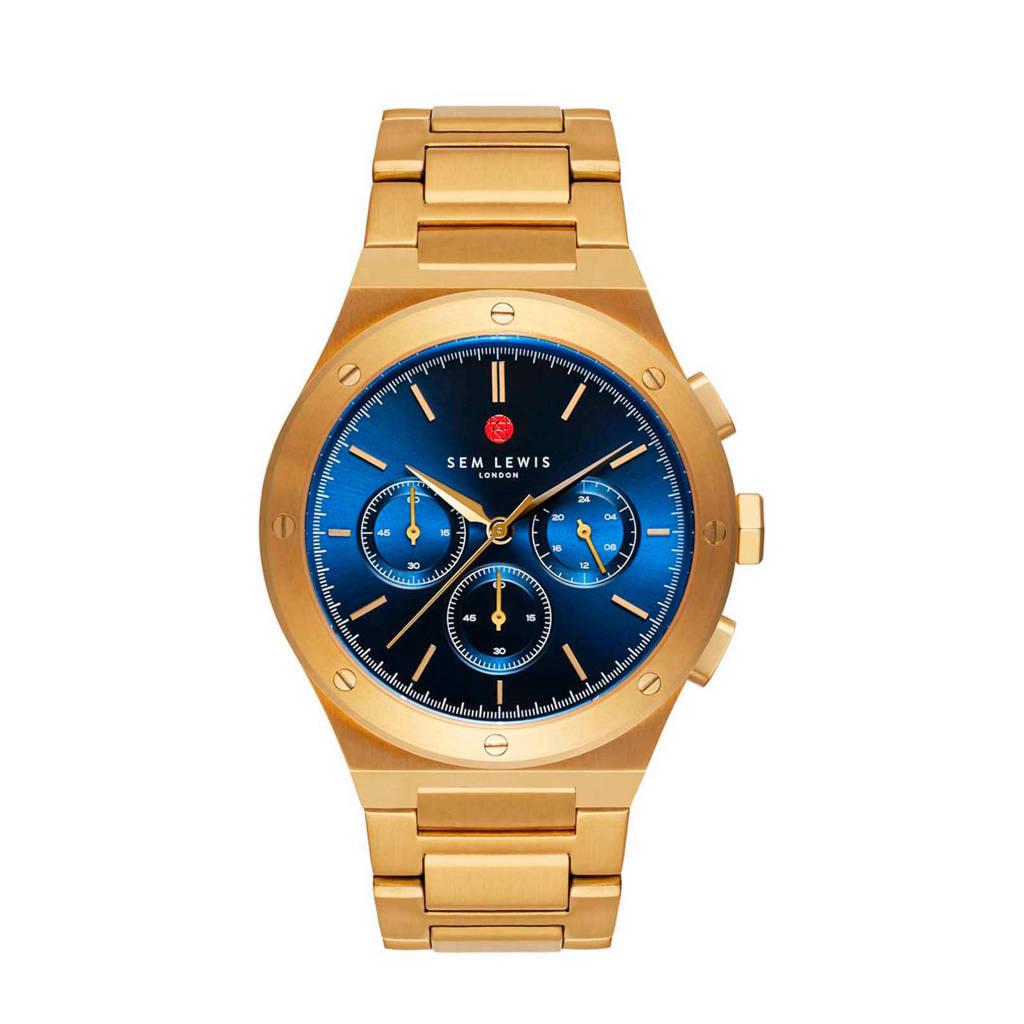 Sem Lewis chrono horloge Moorgate  SL1100051 blauw/goudkleurig, Goudkleurig