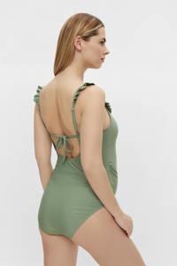 MAMALICIOUS zwangerschapsbadpak Daria met ruches groen, Groen