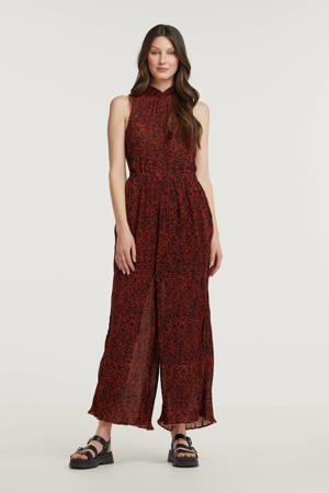 jumpsuit met all over print zwart/ roood