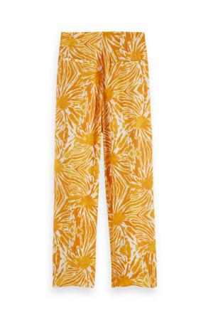 high waist loose fit broek geel