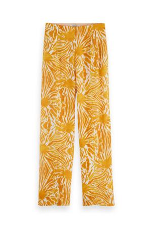 high waist wide leg pantalon geel