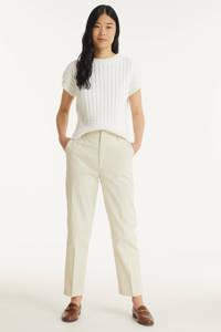 Scotch & Soda cropped slim fit broek met biologisch katoen gebroken wit, Gebroken wit