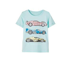 T-shirt Hotwheels met printopdruk turquoise
