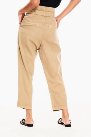 high waist straight fit broek zand