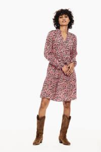 Garcia jurk met all over print en ruches roze, Roze