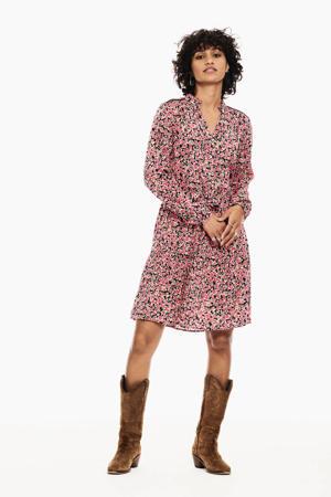 jurk met all over print en ruches roze
