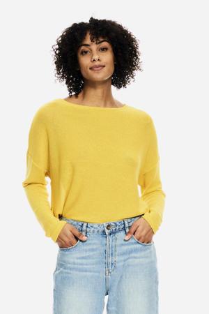 fijngebreide trui geel