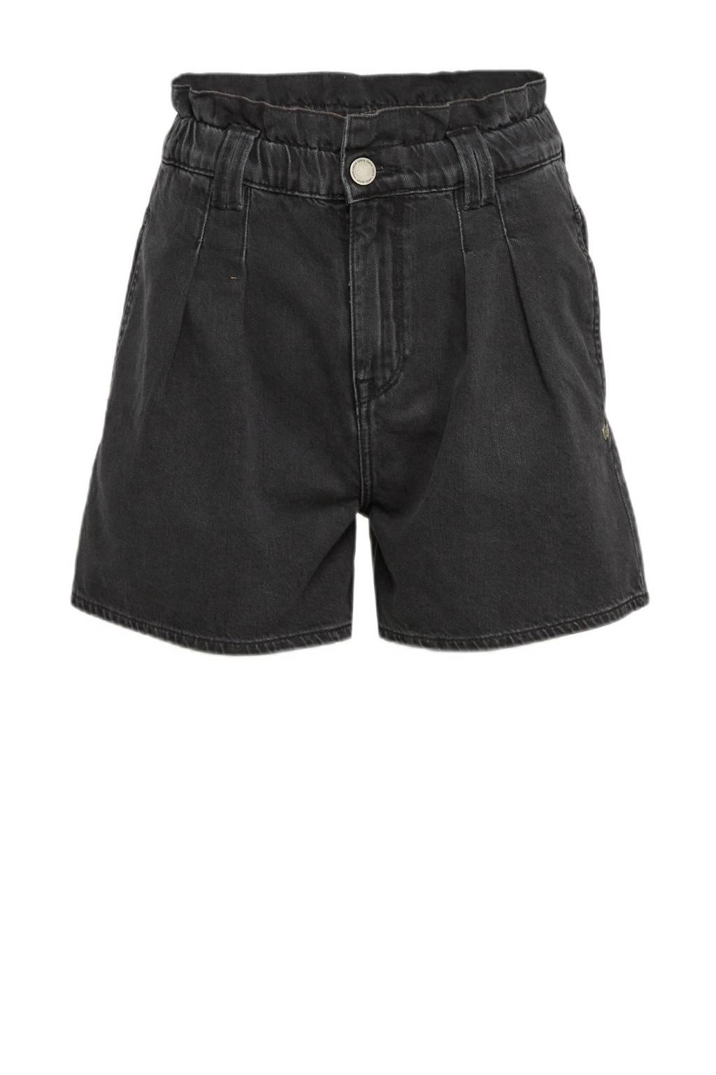 Garcia high waist straight fit jeans short donkergrijs, Donkergrijs