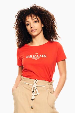 T-shirt D101_ladies T-shirt ss met tekst rood