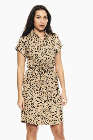 blousejurk met all over print en ceintuur bruin/zwart