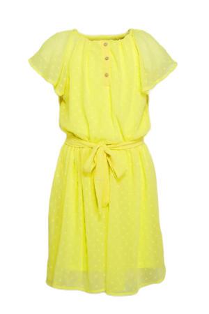 semi-transparante jurk Hiddo met ceintuur geel