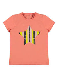 NAME IT KIDS T-shirt met reversible pailletten zalm, Zalm