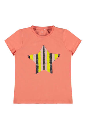 T-shirt met reversible pailletten zalm