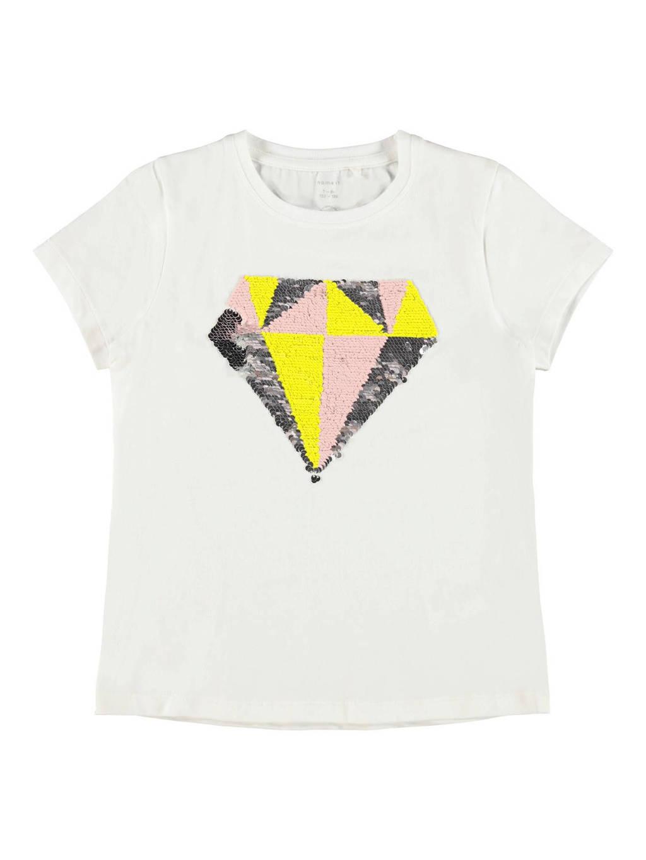 NAME IT KIDS T-shirt met reversible pailletten wit, Wit