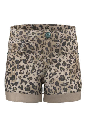 slim fit short Becky met panterprint beige/groen