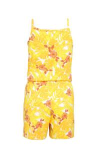 NAME IT KIDS jumpsuit Vigga van biologisch katoen wit/geel/oranje, Wit/geel/oranje