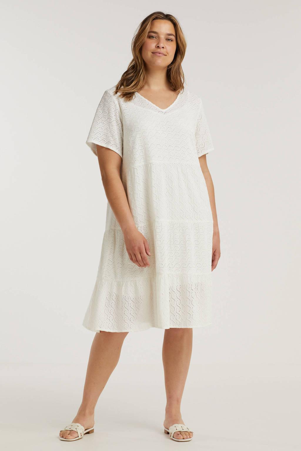Zizzi A-lijn jurk MANNE met volant wit, Wit