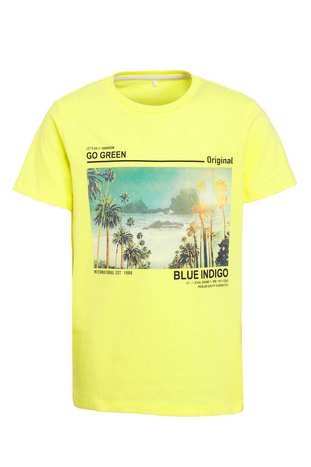NAME IT KIDS T-shirt Haben met biologisch katoen geel, Geel