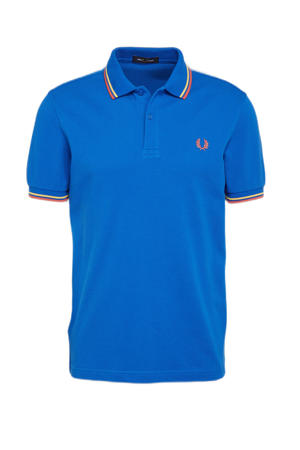 regular fit polo Twin tipped met contrastbies blauw