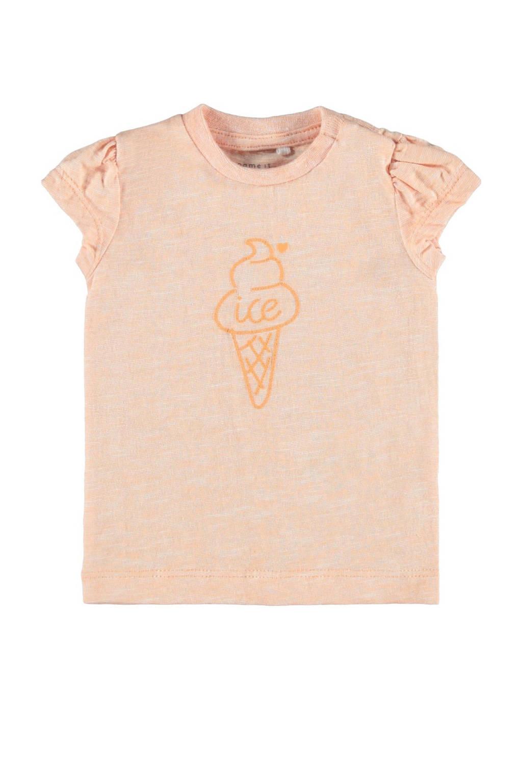NAME IT BABY baby T-shirt Hanne van biologisch katoen oranje, Oranje