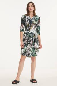 Smashed Lemon A-lijn jurk met all over print en ceintuur wit/groen, Wit/groen