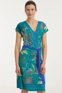 Smashed Lemon A-lijn jurk met all over print en ceintuur turquoise, Turquoise