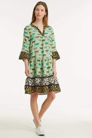 A-lijn jurk met all over print en volant groen