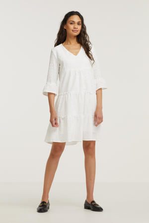 trapeze jurk met volant wit