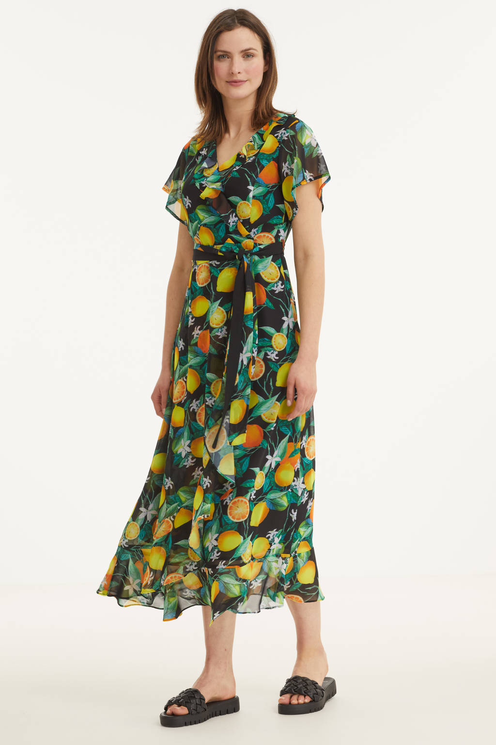 Smashed Lemon A-lijn jurk met all over print en ceintuur zwart/multi, Zwart/multi