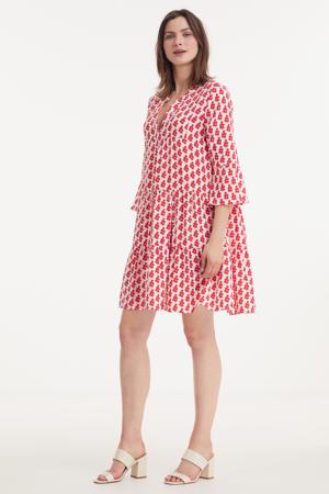 A-lijn jurk met all over print en volant rood/wit