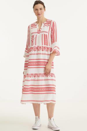 jurk met all over print wit/rood
