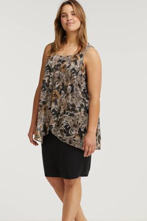 semi-transparante jurk FERN met bladprint en plooien zwart/bruin