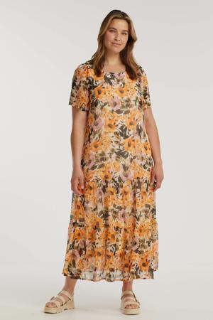 gebloemde semi-transparante maxi jurk FERN  oranje/donkergroen/lichtroze