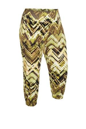cropped slim fit broek AYLA  met all over print bruin/lichtgroen/zwart