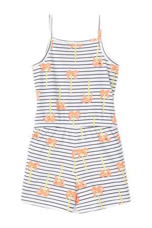 gestreepte jumpsuit Vigga van biologisch katoen wit/donkerblauw/oranje